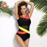 ee0c020369142 Andzhelika 2017 New Sports Sexy Swimwear Women Soft Cup Mesh Solid  Patchwork Stripe Swim Suit U-shaped Back Swimsuit C19041901