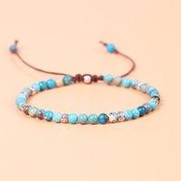 ingrosso blu guarisce-Estate naturale blu imperatore pietre bracciali perline braccialetto fatto a mano gioielli di guarigione regalo regolabile per le donne stile classico