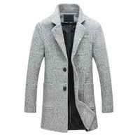 abrigos de guisante de moda para los hombres al por mayor-2019 Nueva Moda Larga Trench Coat Hombres 40% Lana Gruesa Invierno Hombre Abrigo Pea Trench Coat Chaqueta Masculina