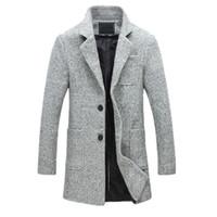 erkek yün palto uzun toptan satış-2019 Yeni Moda Uzun Trençkot Erkekler 40% Yün Kalın Kış Erkek Palto Bezelye Trençkot Erkek Ceket