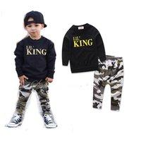 ingrosso vestito da bambino-T-shirt a maniche lunghe stampata con lettere estive per bebé e pantaloncini mimetici
