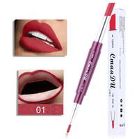 ingrosso pigmenti rossicci-cmaadu Matte Lipstick + Lip Matite Double-end Sexy 6 Color 2in1 Impermeabile Pigmenti Nude Lip Liner Rossetto Trucco Pen
