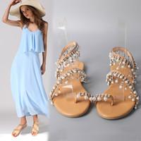 el yapımı bayanlar sandaletler toptan satış-Kahverengi Roma Inci Sandalet El Yapımı Boncuk Büyük Kod El Yapımı Boncuk Anti Aşınma Ayakkabı Bayanlar Yaz Popüler Fabrika Doğrudan 38qyI1