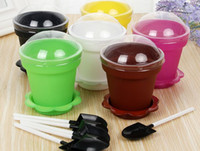 Wholesale plastic tool set for kids resale online - Flower Pot Cake Cups Spoon Set Ice Cream ecoration for Wedding Kids Birthday Party Supplies Baking Pastry Tools