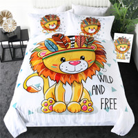 Wholesale teen full bedding for sale - Group buy Lion Bedding Set Queen Size Cartoon Duvet Cover for Kids Teen Tribal Animal Bed Set Geometric Bed Linen Piece
