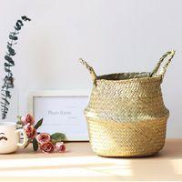almacenamiento de la cesta de lavandería al por mayor-Almacenamiento de bambú hecho a mano puro cesta plegable multifuncional plantador de lavandería remiendo de la paja de mimbre Rattan Seagrass jardín Maceta Jardinera
