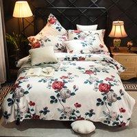 feuilles imprimées florales roses achat en gros de-4pcs style européen imprimé floral draps de linge de lit floral 600TC coton égyptien ensembles de literie housse de couette double reine roi #s