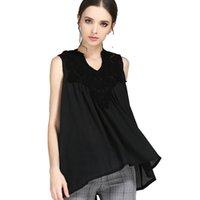 vintage kolsuz dantel bluzlar toptan satış-Moda Yaz Üstleri Tee Gömlek Femme Seksi Dantel En Kadınlar Bayanlar Vintage Kolsuz Bluzlar Rahat Giysiler