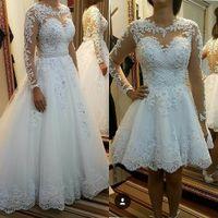 594475e244 Vestidos de novia cortos de manga larga vintage Falda extraíble Playa Boho  Puffy Tulle Encaje Más tamaño País Sheer Button Volver Vestidos de novia  2019