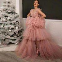 vestidos de baile sexy árabes venda por atacado-Blush Rosa Sexy Prom vestido de baile sem encosto sem mangas Trem da varredura Net / Tulle do desgaste da noite vestido de festa árabe Vestidos Pageant