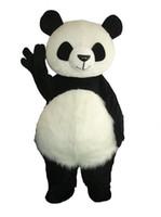 panda fantasia venda por atacado-2019 Tempo-limitado Venda Louca @ Cabelo Comprido Panda Urso Animal Adulto Tamanho Do Traje Da Mascote Fancy Party Dress Suit + cabeça Epe