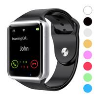 telefone preto smartwatch venda por atacado-A1 bluetooth smart watch esportes relógios inteligentes suporte sim / tf cartão com câmera para apple iphone samsung android telefone