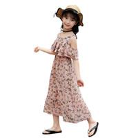 garota de praia 12 anos venda por atacado-Vestidos de meninas de verão novo chiffon dress floral impressão ombro boêmio férias colete pequeno perfumado praia dress 4-12 anos