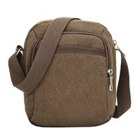 saco de ombro dos meninos coreano venda por atacado-Coreano Moda Canvas Crossbody Bag For Men Zipper Vintage pequeno ombro Messenger Bag For Boys Casual Crossbody Satchel Bag