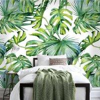 ingrosso luce della parete della casa murale-Sfondo chiaro sollievo verde foglia per Soggiorno Camera carte da parati 3D Wallpaper Background decorazioni per la casa