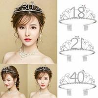 Wholesale 16 tiaras resale online - Anniversary Birthday th Silver Rhinestone Tiara Crown Headband