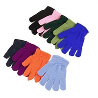 Wholesale white knit gloves resale online - Children Winter Gloves Boys Girls Magic Kintted Finger Glove Kids Warm knitting Mittens Solid Candy Color Gloves Students Outdoor Glove