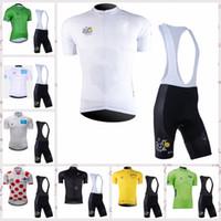 ekip bisiklet mayo bib şort seti toptan satış-FRANSA TURU takım Bisiklet Kısa Kollu jersey (önlük) şort setleri MTB Bisiklet Bisiklet Giyim Ropa Ciclismo Yarış Bisiklet Giysileri 122403F