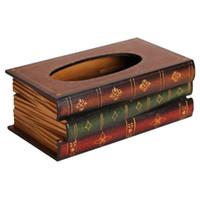 caja de pañuelos de madera al por mayor-Forma de libro de madera retro Caja de pañuelos Rectángulo Servilletero Estuche de almacenamiento Europa Retangle Servilletero Anillo de papel Tissue