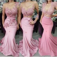Wholesale white black appliques wedding dress for sale - Group buy Pink Mermaid Bridesmaids Dresses African Arabic Mix Styles Appliqued Satin Long Wedding Guest Party Evening Gowns Formal Ceclebrity Wear