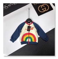 Wholesale rainbow striped clothing resale online - Children s designer clothing trend rainbow pattern cotton fabric comfortable and durable boy jacket round neck design fashion cardigan coat