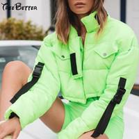 bayanlar yeşil parka toptan satış-Neon Yeşil Çanta Toka Cep Fermuar Kış Sıcak Kadınlar Kısa Ceket üst Parka bahar bayanlar