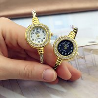 Wholesale round wire glasses for sale - Group buy Round Simple Fashion crystal diamond small dial thin rope steel wire watches for women ladies students dress quartz wrist watch gift clock
