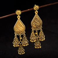 boucles d'oreilles lanterne achat en gros de-Ethnique Big Gold Lantern Metal Tassel Dangle Earrings Pendientes Bijoux Indiens Boucles D'oreilles Goutte D'eau Oorbellen Cintres