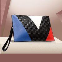 Wholesale women tablet online - Leather men and women handbag designer stitching color handbag business men and women Baotou layer leather briefcase fashion trend tablet