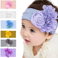 Wholesale infant baby accessories for sale - Cute infant headband flower hairband baby boys girls floral headwear rose nylon hair accessories for different colors
