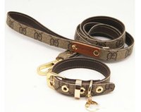 Wholesale leather dog collars harnesses for sale - Group buy Classic pattern series pet supplies collar leather traction rope suit walking dog harnesses artifact