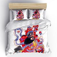camas dobles chinas al por mayor-AHSNME Door God Duvet Cover Chinese Ancient Culture Gods Juego de cama 2 / 3pcs Edredón Cover Queen Size para cama doble Personalizar