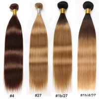 ombre bakire hint saçları toptan satış-# 4 # 27 Düz Saç Demetleri Ombre # 1b / 4/27 # 1b / 27 Kahverengi Sarışın Düz Brezilyalı Saç Örgü Demetleri Perulu Malezya Ham Bakire Hint