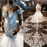 kollabiertes kleid plus größe groihandel-High Collar Plus Size Wedding Dresses Lace Crystal Beads Court Length Mermaid Wedding Dress Custom Made Appliqued Long Sleeve Bridal Gowns