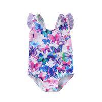 kelebek yaprakları toptan satış-Kızlar Bebek Çocuk Baskılı Kelebek Desen Çiçek Mayo Petal Kol Yüzme Kostüm Tek Parça Mayo