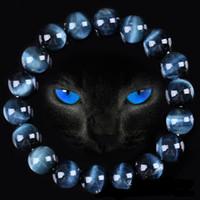голубой тигр глаз бисер оптовых-Высокое качество Голубой тигровый глаз Будды Браслеты Природный камень Круглый бисер Эластичность каната Мужчины Женщины Браслет