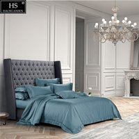 ingrosso set di biancheria da letto di lago-120S cotone egiziano Lake Blue Luxury Royal Bedding Set 4 pezzi King Queen Lenzuolo Copripiumino Cuscino shams semplice Bright Grace