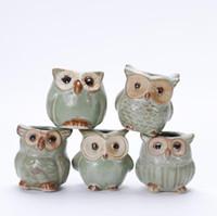 ingrosso vaso di bonsai in ceramica-Garden Owl Planters Vasi in ceramica Fiore smalto Base Set Succulente Vaso di fiori Cactus Pianta Vaso di fiori Contenitore Fioriera Bonsai Pentole SN369