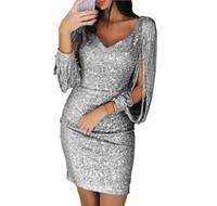 vestido longo do pescoço do tubo venda por atacado-Outono manga comprida elegante vestido de festa detalhe borla lantejoula fenda manga com decote em v mini vestido sexy mulheres vestidos de tubo