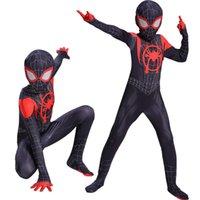 ropa de rendimiento para los hombres al por mayor-En el funcionamiento de los trajes de Spider-verso hombre araña de Cosplay de la ropa del Niños de Halloween Ropa y mallas para adultos