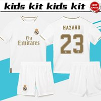 23 pantalones cortos al por mayor-Jersey de fútbol del Real Madrid Home Boys 2019 Kids Kit 19/20 # 23 PELIGRO # 9 BENZEMA Uniformes de fútbol para niños Traje personalizado + pantalones cortos