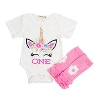 hazır giyim seti toptan satış-Çocuk Giyim Setleri Giysi Tasarımcısı Bebek Kız Baskılı Unicorn Kısa Kollu Yuvarlak boyun Annelik Pamuk Suit 40