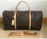 grand sac de sport en cuir achat en gros de-2019 hommes sac de sport femmes sacs de voyage bagages designer sacs de voyage hommes PU sacs à main en cuir grands emballages 55 cm livraison gratuite