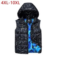 colete homens hoodie venda por atacado-4XL-10XL Plus Size 2018 Inverno Quente Cotton Vest Men Hoodies mangas Jacket Moda Casual Slim Fit Work Vest Colete 3ZWJ13