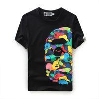havalandırmalı gömlek toptan satış-Yaz Sandbeach T-Shirt Pamuk Havalandırmak Logo Tasarım Ape Baskı T-Shirt Erkekler Ve Kadınlar Ekip Boyun Rahat T Gömlek
