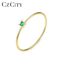 Wholesale 14k 585 ring resale online - CZCITY New Luxury Pure Gold Jewelry k Gold Rings for Women Engagement Wedding Yellow Anillos De Ouro Pur Gifts R14145