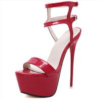 zapatos de gran tamaño al por mayor-16 cm Moda Lady Nightclub Shoes Mujer Sandalias Super Stiletto Heels Ladies Sexy Buckle Dance banquet shoes Plus Size Eu34-46 al por mayor