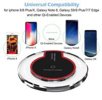 escritorios inalámbricos al por mayor-Mini Qi Cargador inalámbrico para Apple iPhone Xs Max X 8 Plus Samsung Galaxy Note 9 8 S9 8 Escritorio Pad de carga inalámbrico rápido