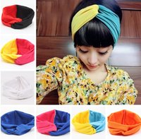 turbante de yoga al por mayor-Fashion Girls Stretch Twist Headband Bows Turbante Lady Sport Yoga Head Wrap Bandana Headwear Accesorios para el cabello TTA1716