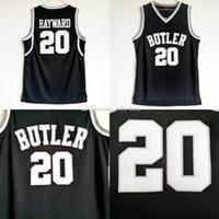черный баскетбол джерси бесплатная доставка оптовых-NCAA College 20 Гордон Хейворд Джерси мужчины черного цвета Butler Бульдоги Джерси Униформа Баскетбол университет Для любителей спорта Бесплатной доставки